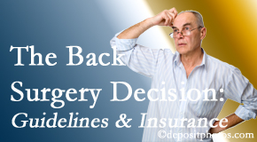 Chiropractic Solutions notes that back pain sufferers may choose their back pain treatment option based on insurance coverage. If insurance pays for back surgery, will you choose that?