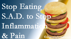 San Jose chiropractic patients do well to avoid the S.A.D. diet to reduce inflammation and pain.