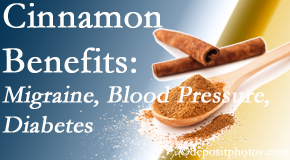 Chiropractic Solutions shares research on the benefits of cinnamon for migraine, diabetes and blood pressure.