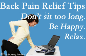 Chiropractic Solutions reminds you to not sit too long to keep back pain at bay!